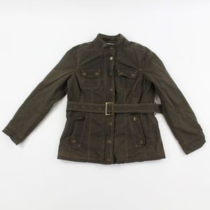 Womens Boden Buckle Field Barn Canvas Jacket Olive